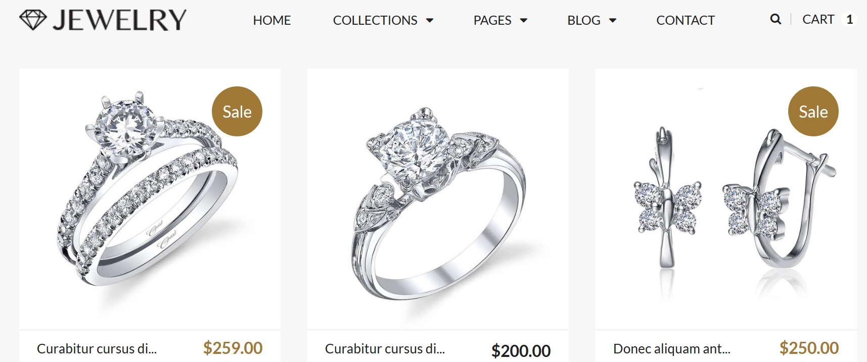 jewelry ecommerce web store design