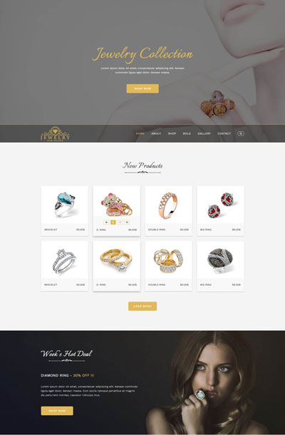 example of website design for jewelry stores and jewelers