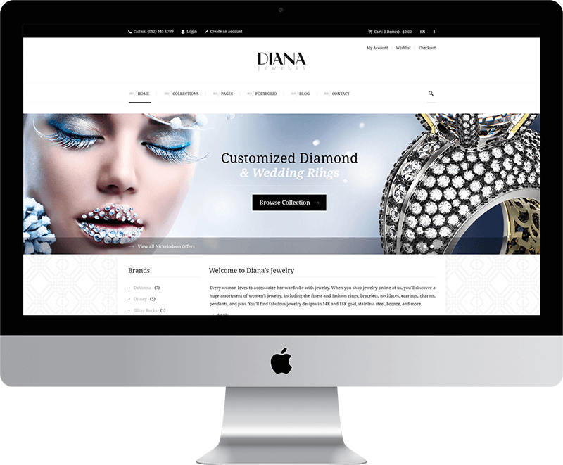 Jewelry Web Design Desktop